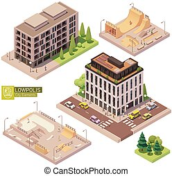 skatepark, 等大, ベクトル, 建物