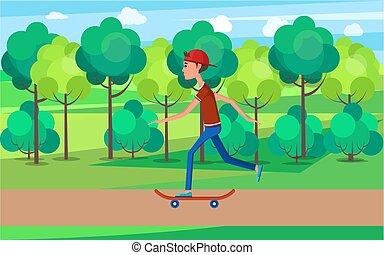 skatepark, 高く, 緑, 引っ越し, skateboarder, スピード