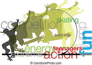 skater., ベクトル, イラスト
