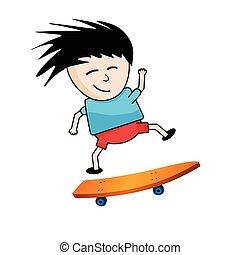 Skater boy jumping on a orange board