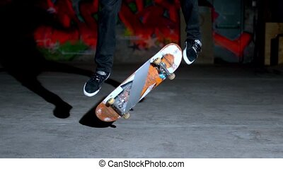 Skater doing 360 flip trip - Close up of skater doing 360...