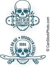 Skater emblem with skull