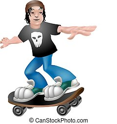 skater illustration - A vector illustration of a cartoon boy...