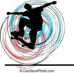 Skater illustration. Vector