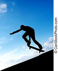 Skater in sky. Element of design.