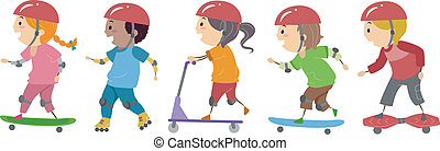 Skater Kids - Illustration of Kids Riding on Skateboards