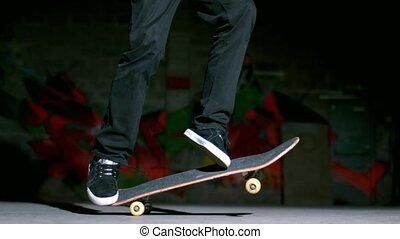 Skater performing impossible 360 trick in slow motion