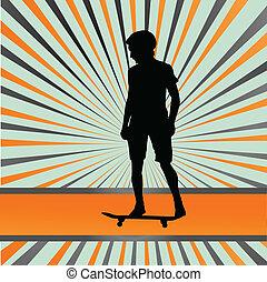 Skater silhouette in front of burst vector background for...