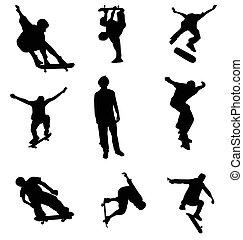 skater, silhouettes, verzameling