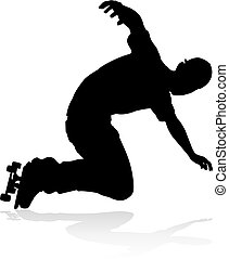 Skater Skateboarder Silhouette - Very high quality and...