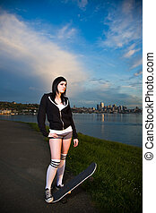 Skater teen girl - A beautiful caucasian skater teen girl ...