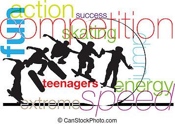 skater., vector, ilustración