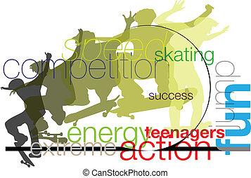 skater., vettore, illustrazione