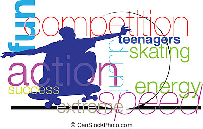 skater., wektor, ilustracja
