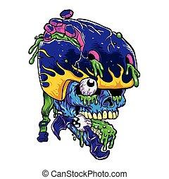 Skater zombie. cartoon vector illustration