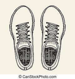 Skaters Shoes. Top View. - Sketch Illustration, Pair of...