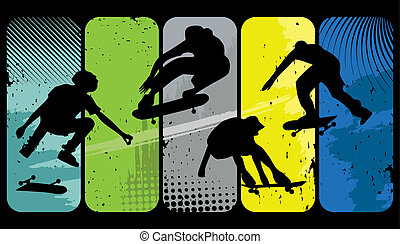 Skaters - Silhouette skaters on an abstract grunge ...