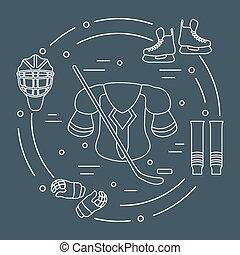 Hockey equipment. Winter sports elements. - Skates, gloves,...