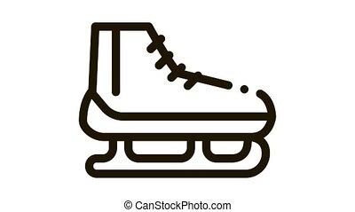 Skates Icon Animation. black Skates animated icon on white background
