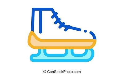 Skates Icon Animation. color Skates animated icon on white background