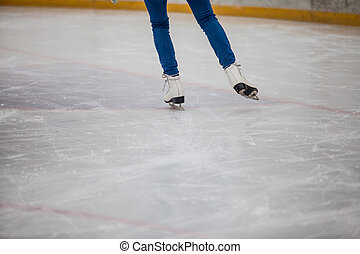 Skates on the rink, texture of ice