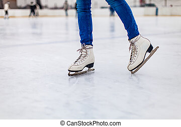 Skates on the rink