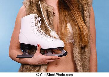 skates., senhora, atraente, gelo