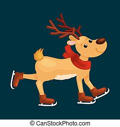 skates, winter, uitgeven, tijd, horns, hertje, eva, ijs, ...