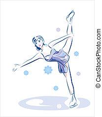 skating., 氷, 女性, 数字, show.