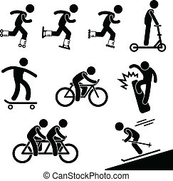 A set of pictograms representing man skating and riding bicycle.