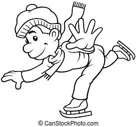 Skating - Black and White Cartoon illustration, Vector