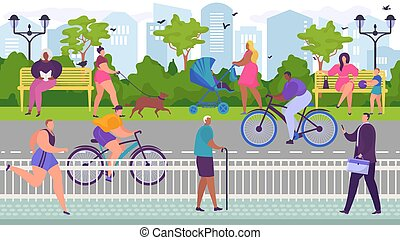 Skating cyclists in park near roadway, useful outdoor sports, people relax in city parkland, cartoon style vector illustration. Joyful women sitting on benches and walking dogs, men running along path