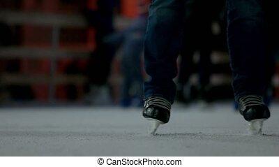 Skating feet close-up. Feet are skating.