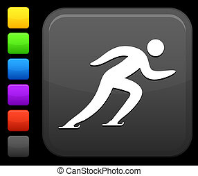 skating icon on square internet button