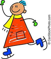 skating kid - happy little boy having fun skating - toddler...