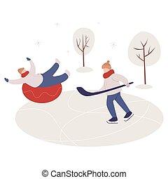skating., młody, uśmiechanie się, chłopiec, lód, człowiek, sport., grając hokej