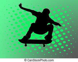 skating man on green background