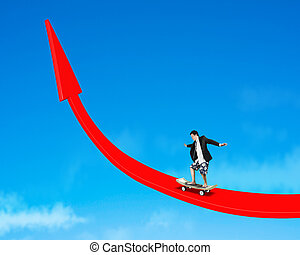 Skating on growing red arrow in sky background