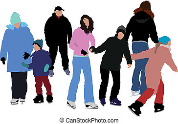 Vector color illustration. Group of people skating on ice. Two couples and the rest of the group are separated silhouettes.