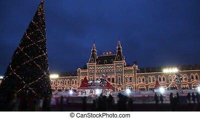 skating, plein, moskou, boompje, rink, jaar, nieuw, rood