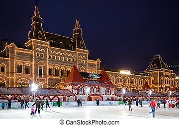 skating-rink, 在上, 红场, 在中, 莫斯科, 在, night., 树胶, 从事贸易, 房子