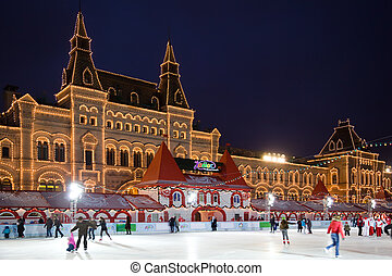 skating-rink, képben látható, piros egyenesen, alatt,...