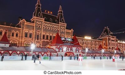 skating rink on Red Square at GUM in Moscow - skating rink...