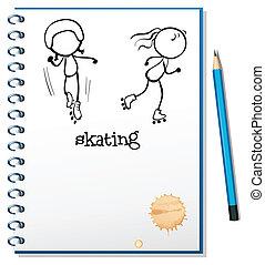 skating, schets, aantekenboekje, twee mensen