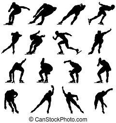 skating, set, silhouette, man