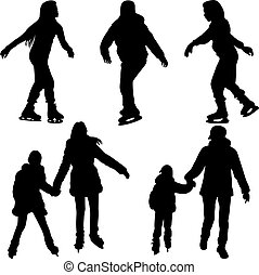 skating silhouette vector