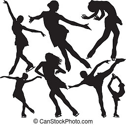 skating, silhouettes, vector, figuur