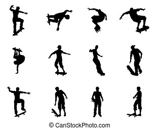 Very high quality and highly detailed skating skateboarder silhouette outlines. Skateboarders performing lots of tricks on their boards.