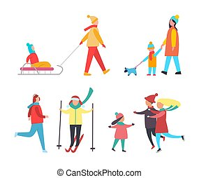 Skating Skiing People Wintertime Activity Vector