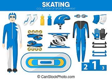 Skating sport equipment skater racer clothing garment accessory vector icons set